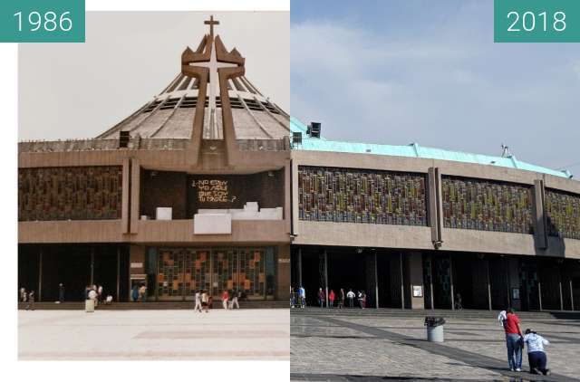 Before-and-after picture of Basilica of Our Lady of Guadalupe between 06/1986 and 2018-Jun-25