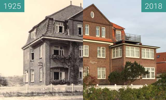 Before-and-after picture of Haus Poggfred between 1925 and 2018-Sep-26
